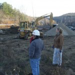 Bruce and Mary look out at the excavating work 11-4-13